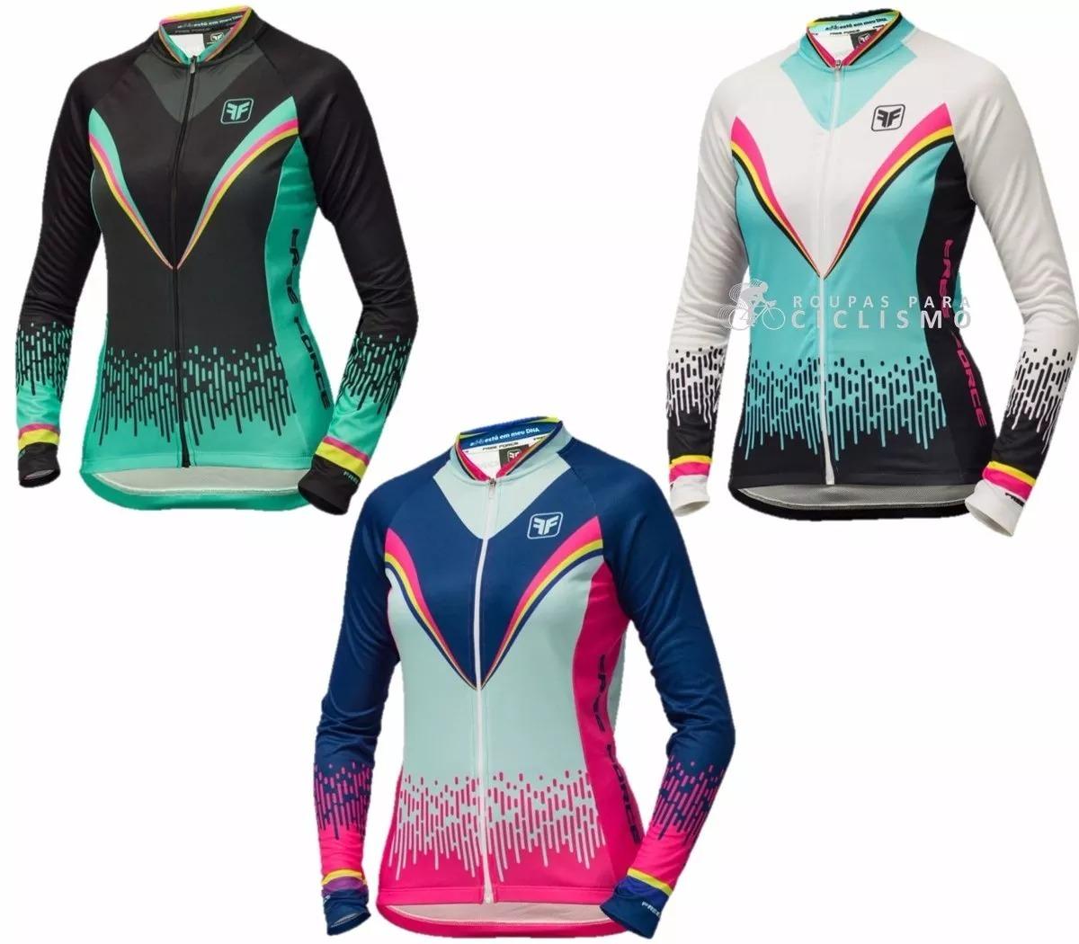 Camisa Ciclismo Feminina Manga Longa Free Force - R  179 2901f203138f2