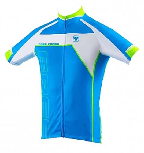 camisa ciclismo free force battle masculina manga curta azul