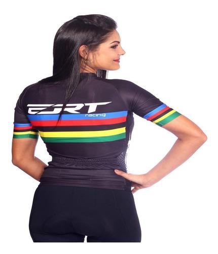 camisa ciclismo mtb ert elite campeão mundial preto + brinde