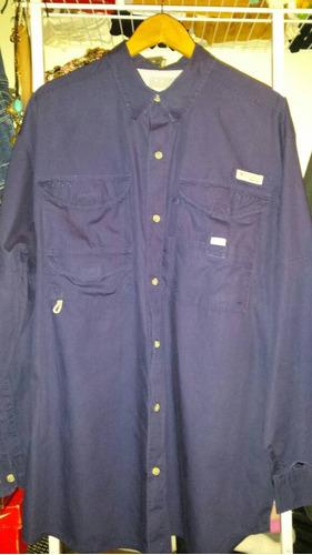 camisa columbia azul xl