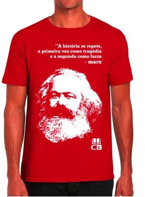 camisa com estampa de marx (preta e vermelha)