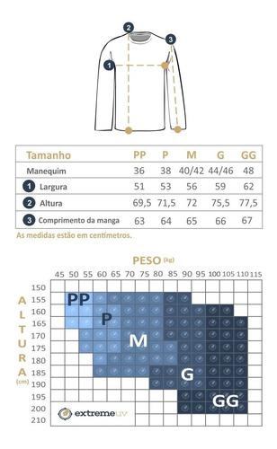 camisa com proteção solar manga longa line dry extreme uv