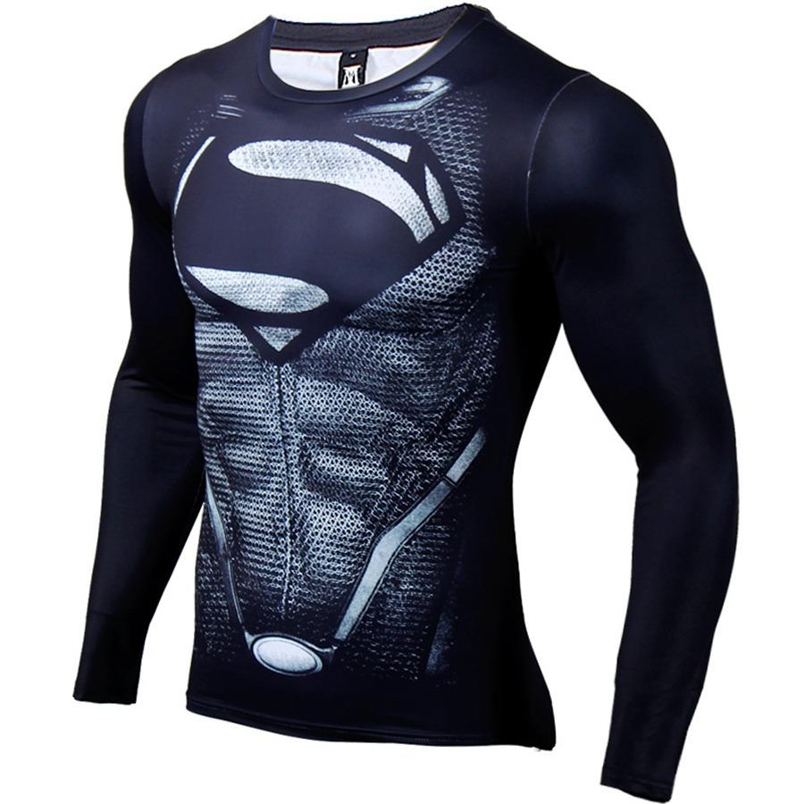 camisa compressão superman preta manga longa pronta entrega. Carregando  zoom. a0d6eba97429d
