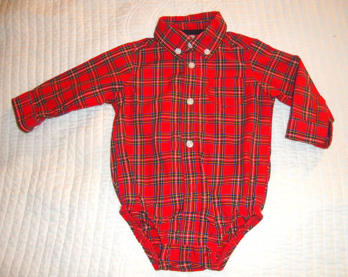 ee7ab418e camisa con body carters para bebe 0 a 6 meses cuadrille rojo. Cargando zoom.