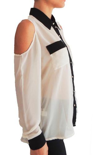 camisa con hombros descubiertos en gasa, activity