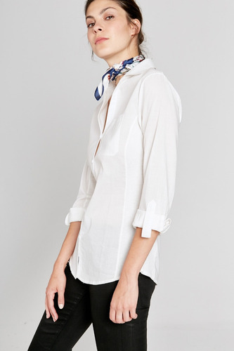 camisa con lateral en morley y mangas roll up yagmour