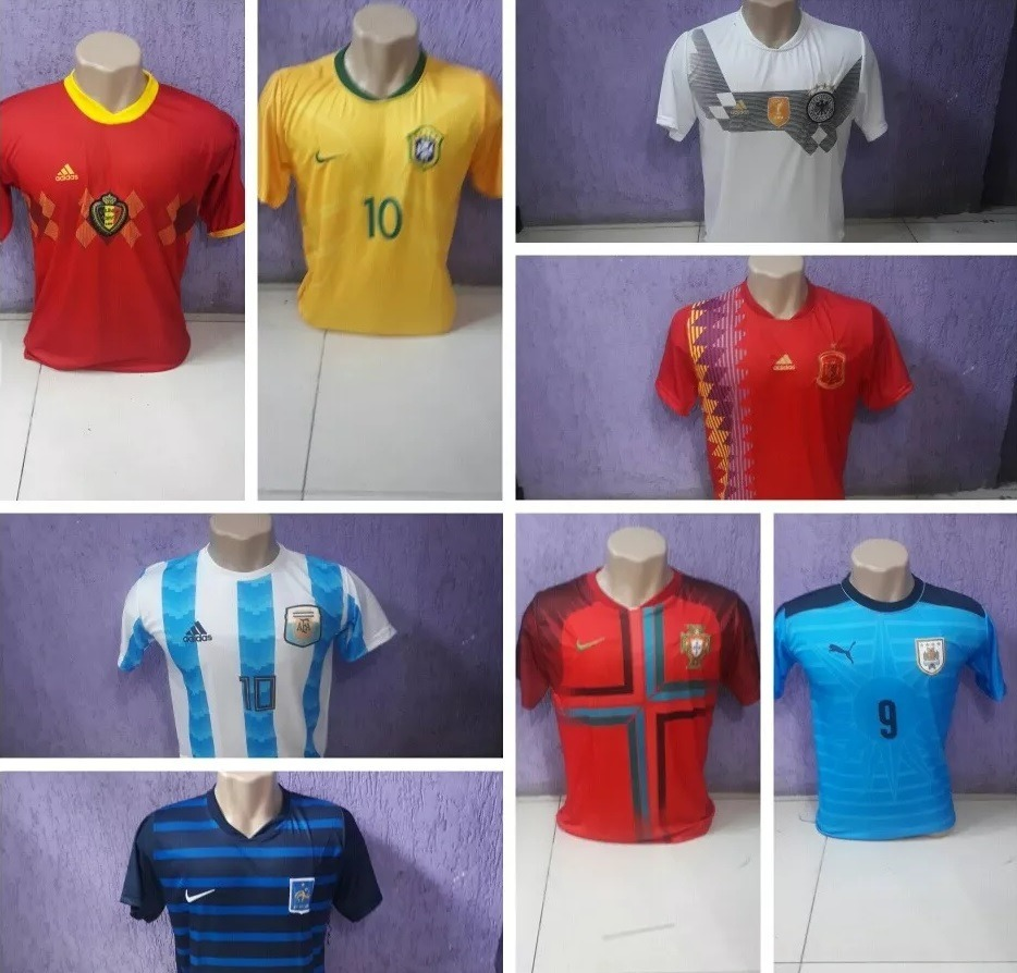 camisa copa do mundo seleções brasil espanha frança alemanha. Carregando  zoom. 9d762ccd99de1