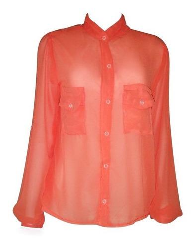 camisa coral com bolsos em musseline de seda