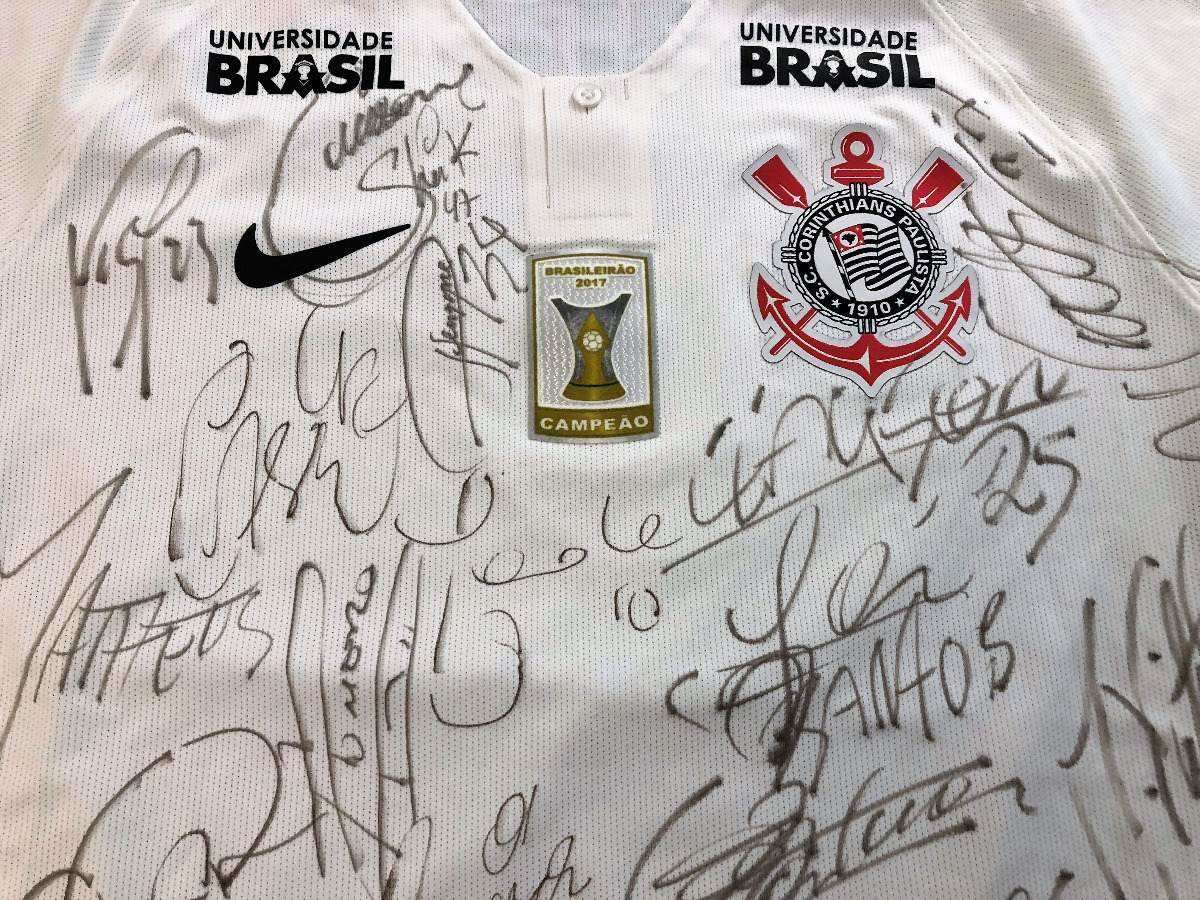 camisa corinthians brasileiro 2018 de jogo autografada todos. Carregando  zoom. 1f4839278fe51