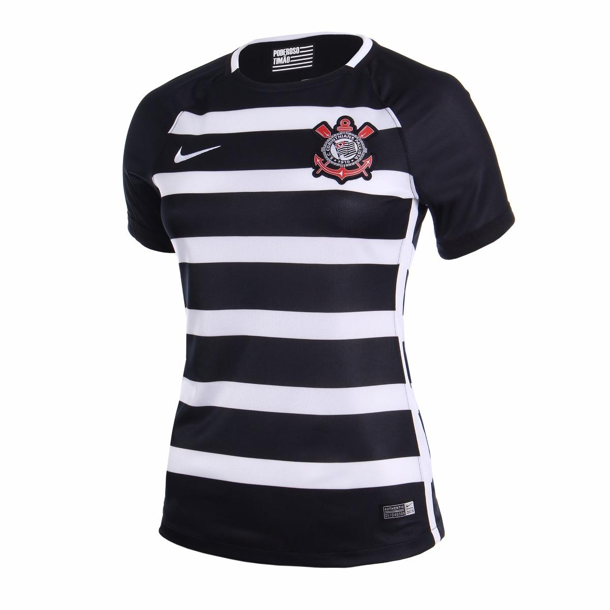 Camisa Corinthians Feminina 2016 Listrada Original - Netfut - R  159 ... 32706b19fc70a