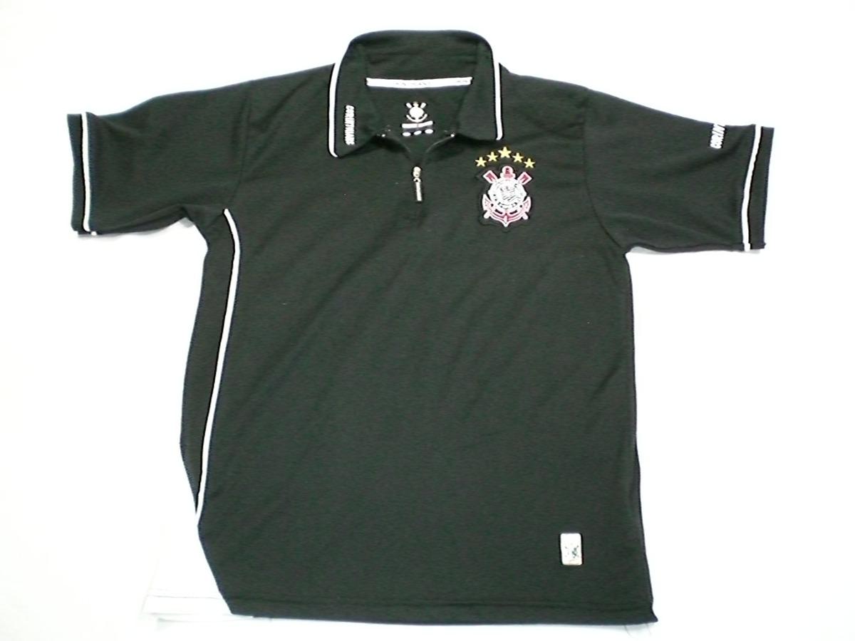 camisa corinthians gola polo com fecho preta bordada. Carregando zoom. 9046cb44bd422