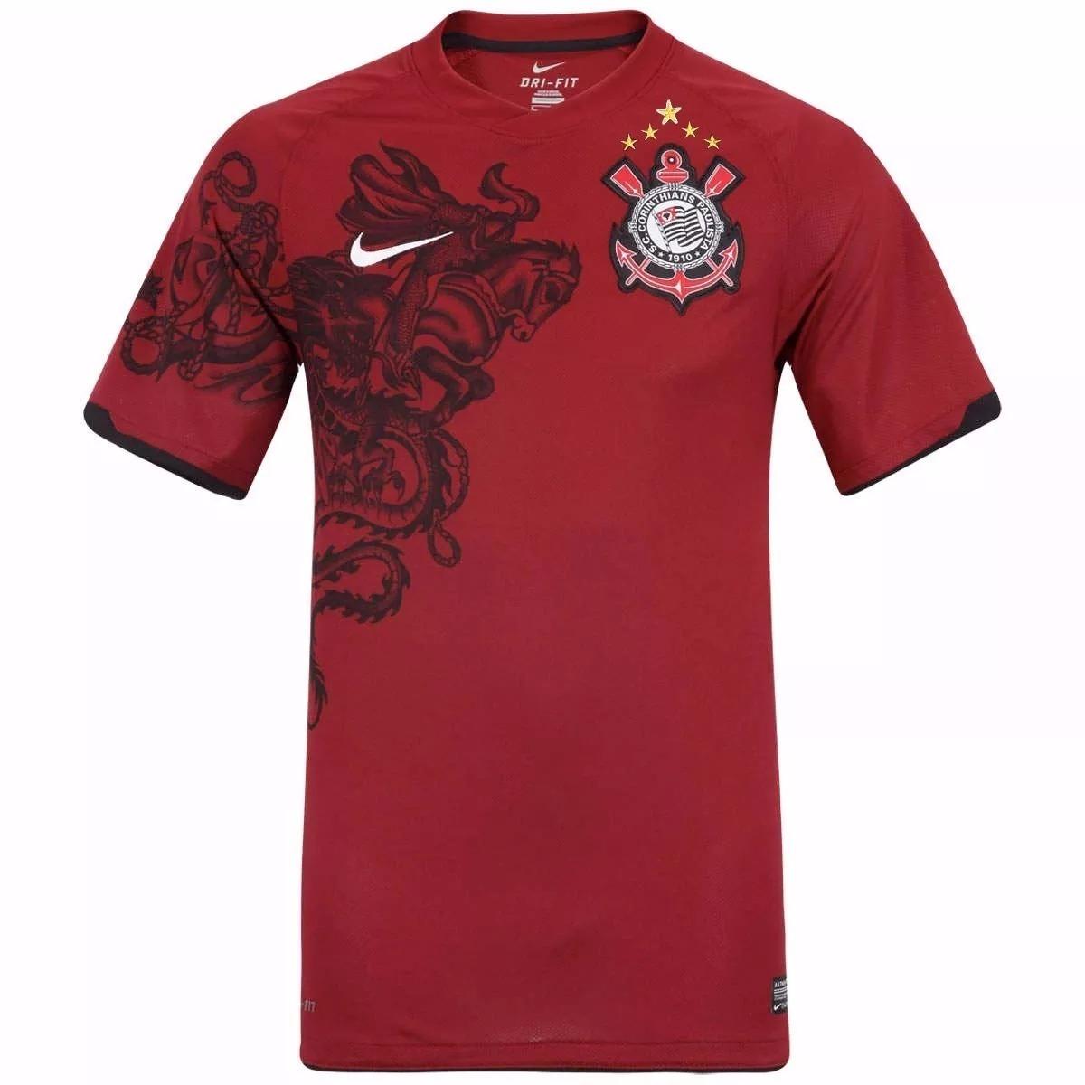6e7aa917da2b9 Camisa Corinthians Grená Campeão 2011 Nike Histórica - 72 - R  199 ...