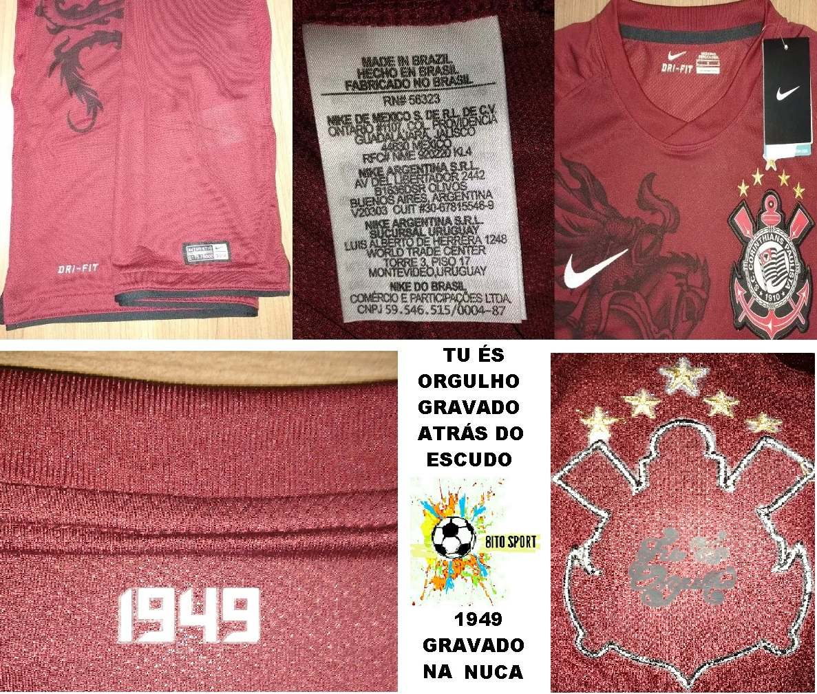 Camisa Corinthians Grená São Jorge Campeão 2011 Nike - 72 - R  199 ... 2aeda473b9ef7