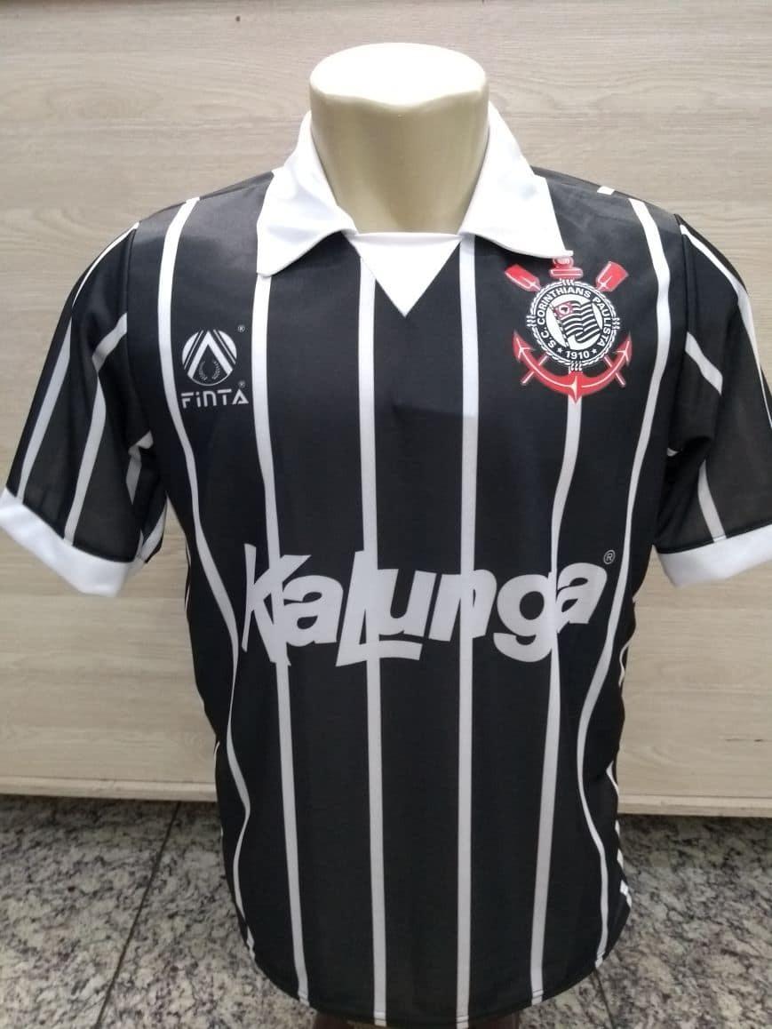 camisa corinthians kalunga preta 1988. Carregando zoom. 6202118153b81