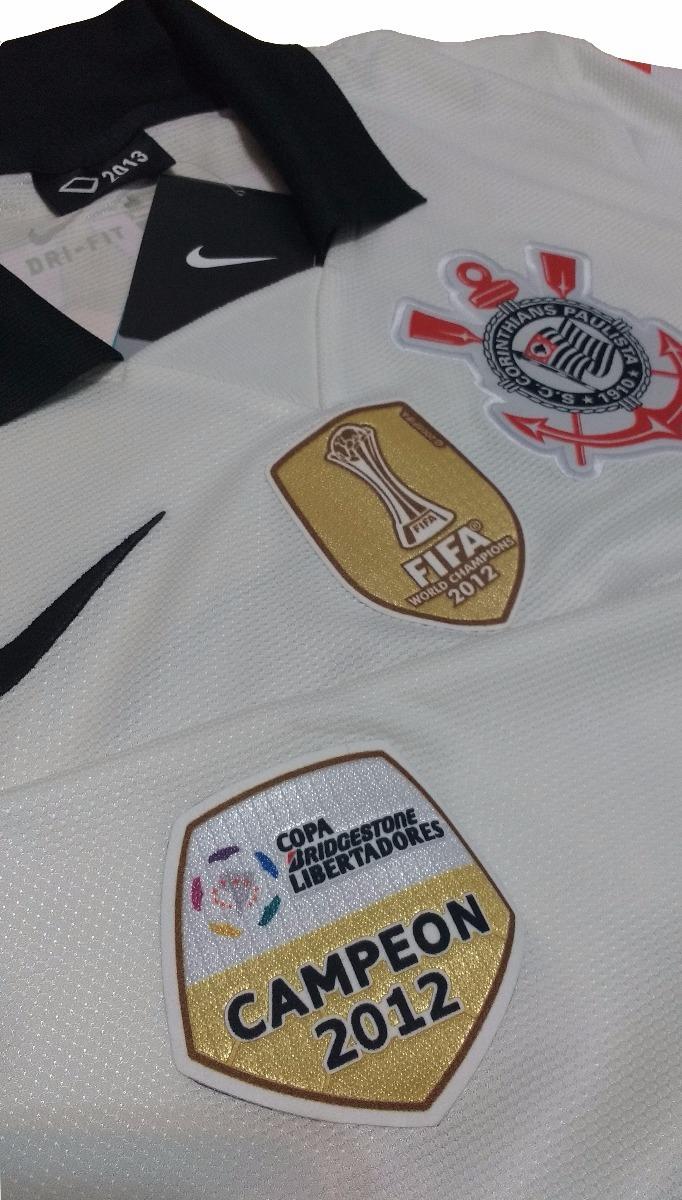 484dfe8a25222 camisa corinthians nike 2013 patchs libertadores + mundial. Carregando zoom.