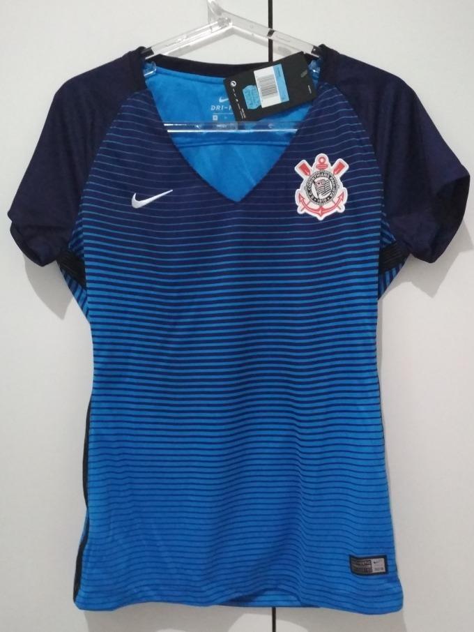 Camisa Corinthians Nike Feminina Azul 2016 2017 Original - R  169 ce16119d9c698