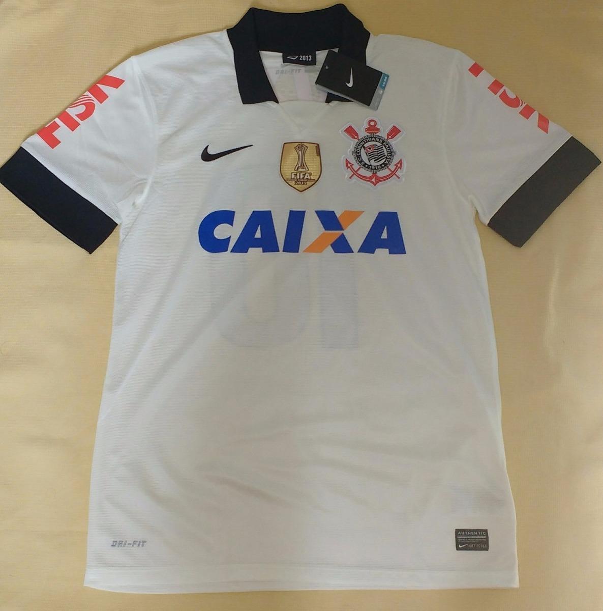 camisa corinthians patch escudo fifa 2012 2013 100% nike. Carregando zoom. d5076e257f660