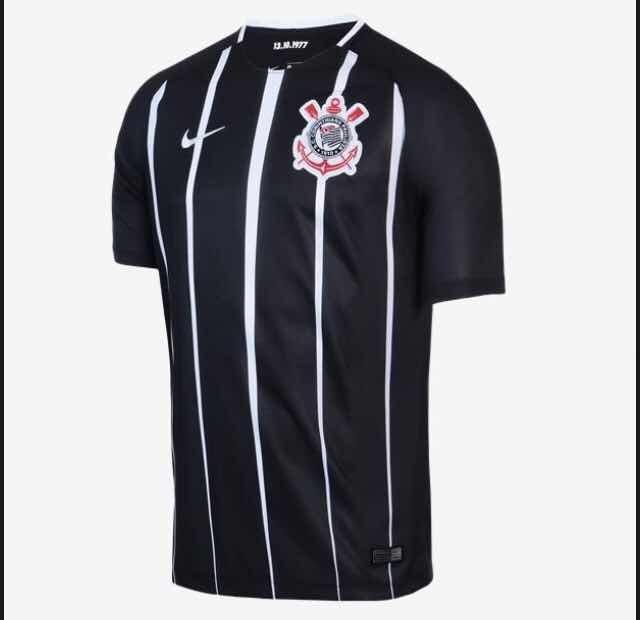 16c5a64db Camisa Corinthians Preta Listrada Nike Nova Jogo Envio Ja - R  139 ...