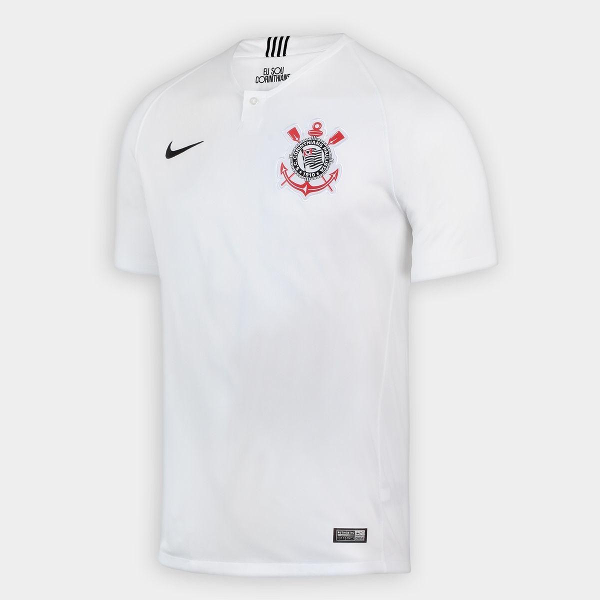aa542f56bf28a camisa corinthians titular nike 2018 branca preta - original. Carregando  zoom.