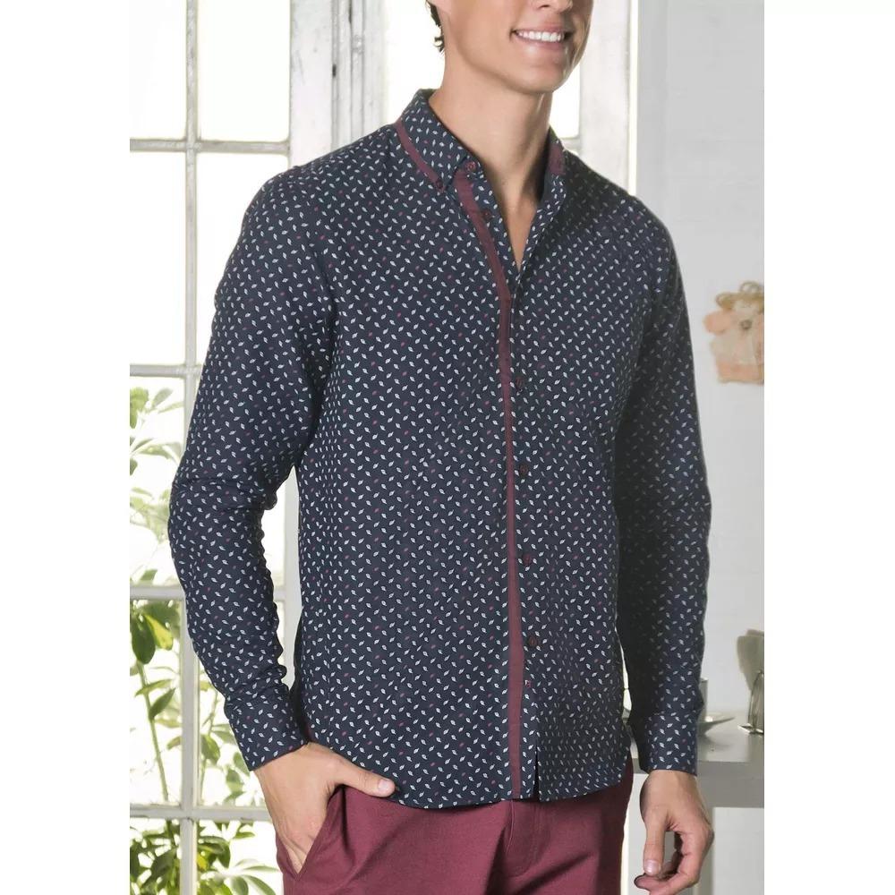 Algodón Slim 1313017 Camisa Corte Bolsa Azul Hombre Para Sin 1zUxS