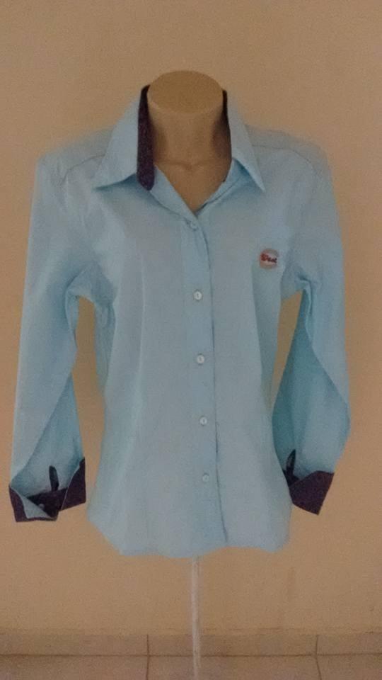 Camisa Country Feminina Lisa Com Gola Florida Punho Largo - R  74 d72e7a53951