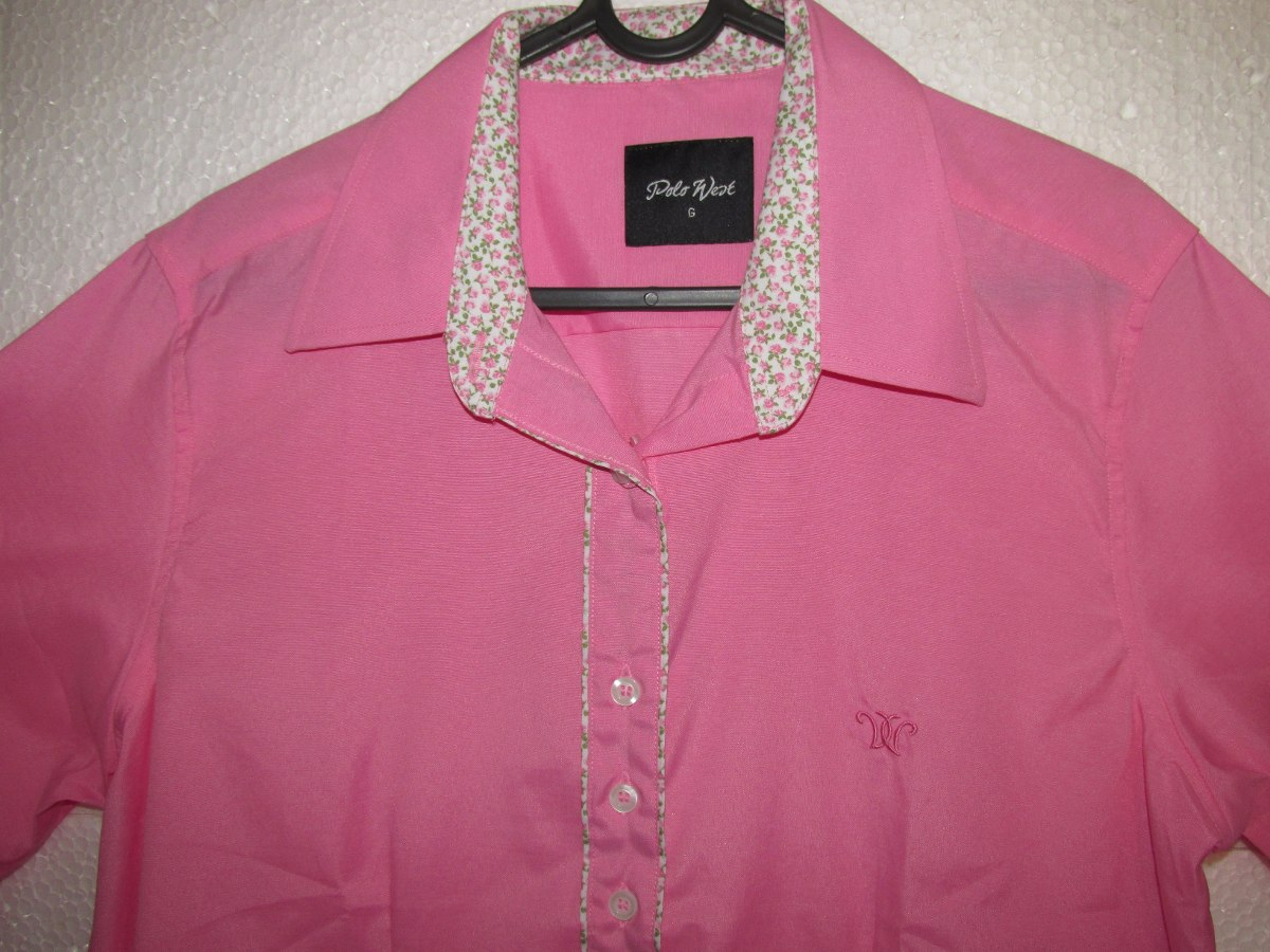 Camisa Country Feminina Rosa M Longa T Algodão Tam M G - R  120 e43f8ffbd09