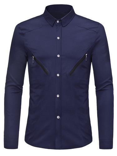 camisa cremallera decorativo manga largo