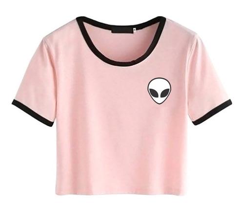 camisa cropped et alien detalhe gola e mangas feminina