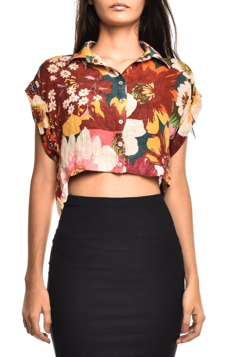 97e6012d3 camisa cropped floral feminina tamanho p farm original. Carregando zoom.