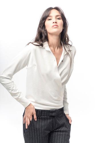 camisa cruzada de sedita stretch blanca giacca