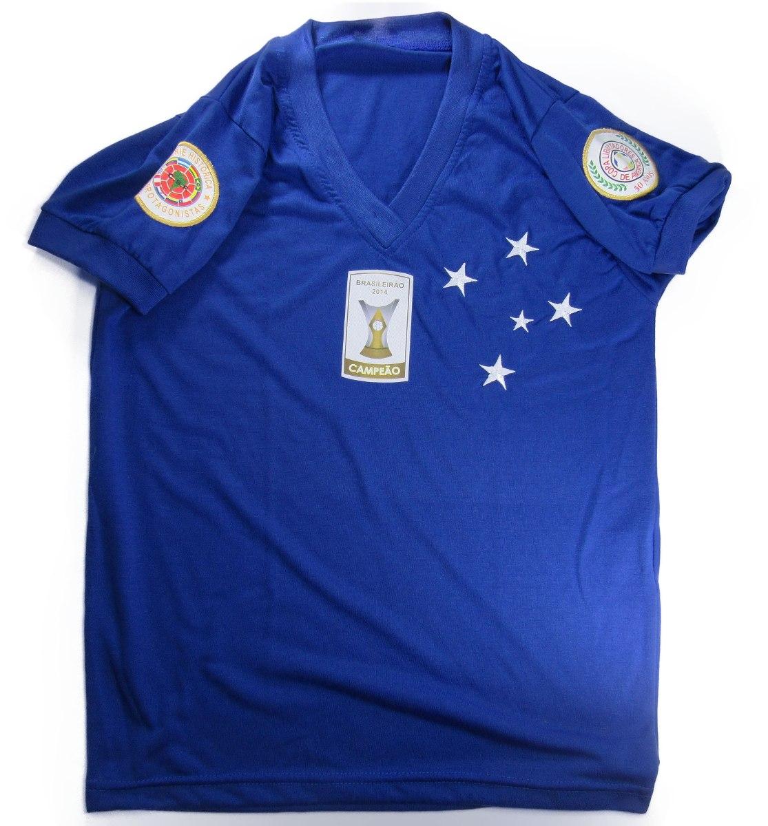 1a233dbf69 Camisa Cruzeiro Retro Brasileirão 2014 E Libertadores - R  39