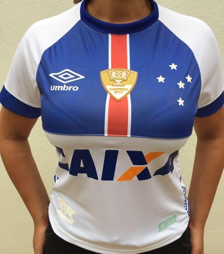 camisa cruzeiro feminina uniforme ii branca 2018. Carregando zoom. 1adbb1c7e4a0a