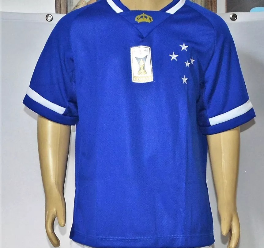 da78fab421 Camisa Cruzeiro Infantil Azul Patch Campeao Futebol - R  19