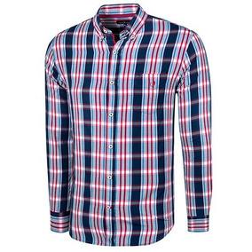58f58be9fc Camisa Cuadros Hombre Polo Club Ak071 Manga Larga Marino T3
