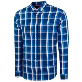 438c1c5b29 Camisa Cuadros Hombre Polo Club Ak072 Manga Larga Marino T3