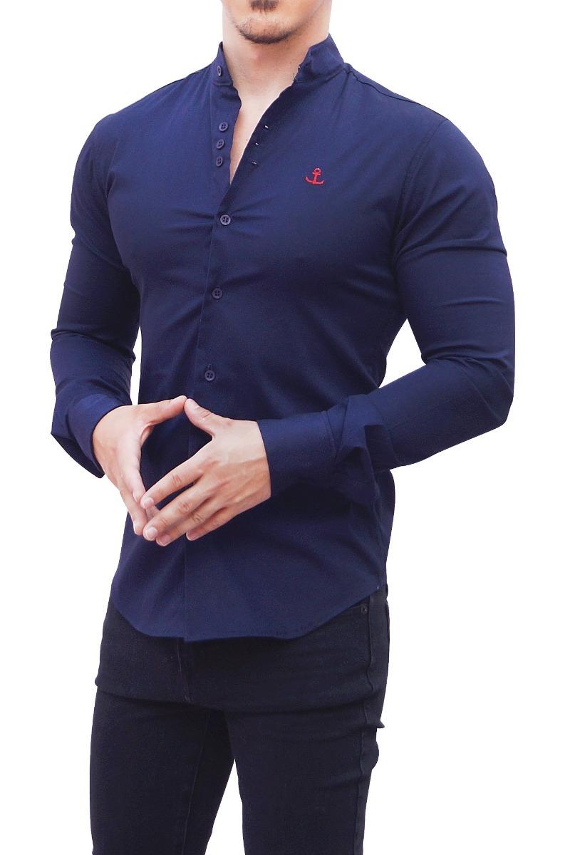 c85920de4 camisa cuello mao azul john leopard ajuste slim fit envio. Cargando zoom.