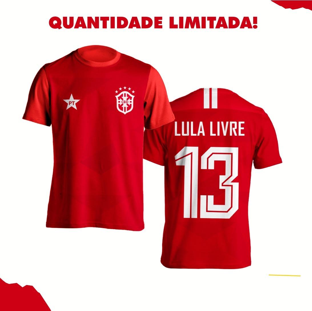 Camisa Da Copa Seleção Do Pt Vermelha Lula Livre 2018 - R  58 7de22d56fcc7e