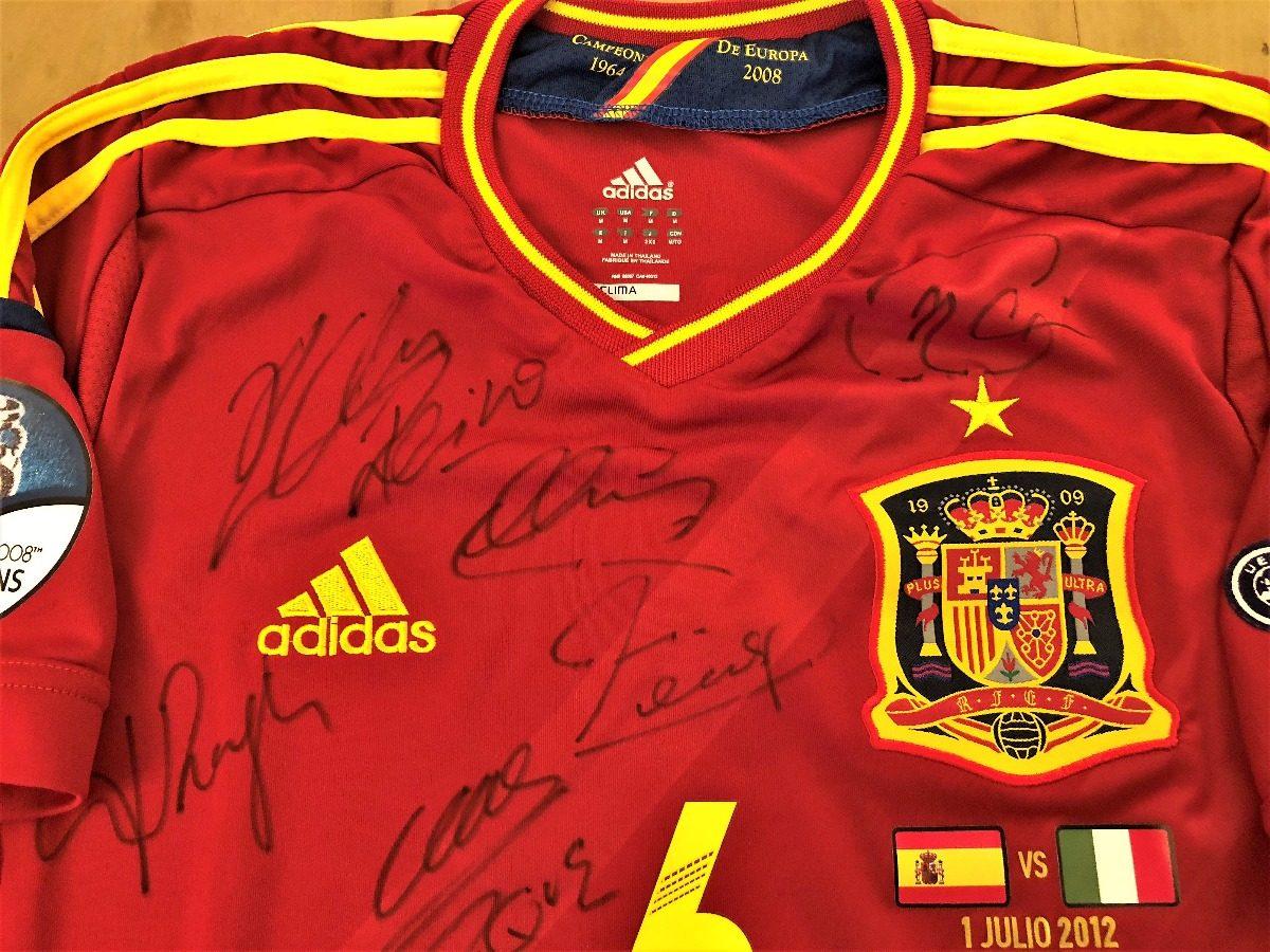 camisa da espanha final euro 2012 autografada todos. Carregando zoom. a6e4ccc467bc5
