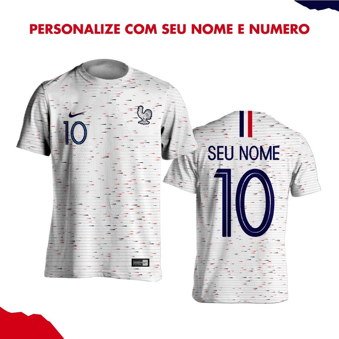 66f32cf50 camisa da frança branca copa 2018 personalizada nome número. Carregando  zoom.