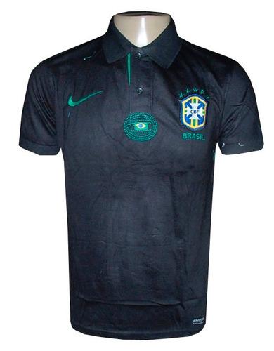 camisa da seleçao brasileira gola polo de viajem preta