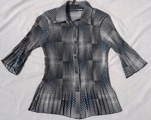 camisa dama entallada manga 3/4 nueva talle s tela crepe