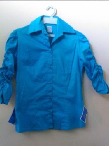 camisa dama nueva con mangas 3/4 arruchadas talla 10 blusas