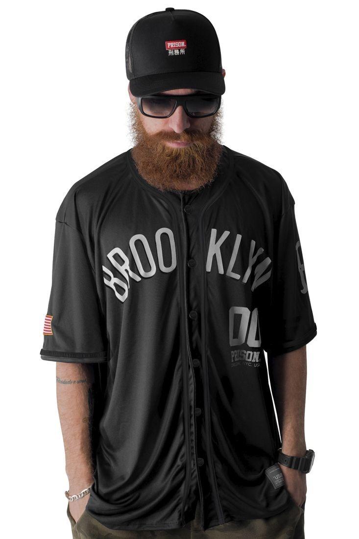 51f1f6244 camisa de baseball prison brooklyn 00 preta. Carregando zoom.
