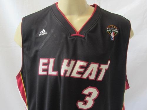 camisa de basquete miami heat noite #3 wade latina oficial