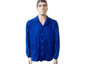 b6b0834ba2d Camisa De Brim Azul Botão Manga Longa 3 Bolsos