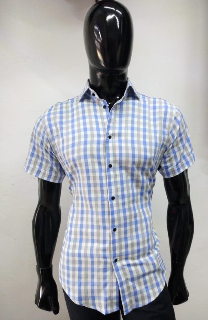 3d56fba145e Camisa De Caballero Color Blanco Con Azul A Cuadros -   490.00 en ...