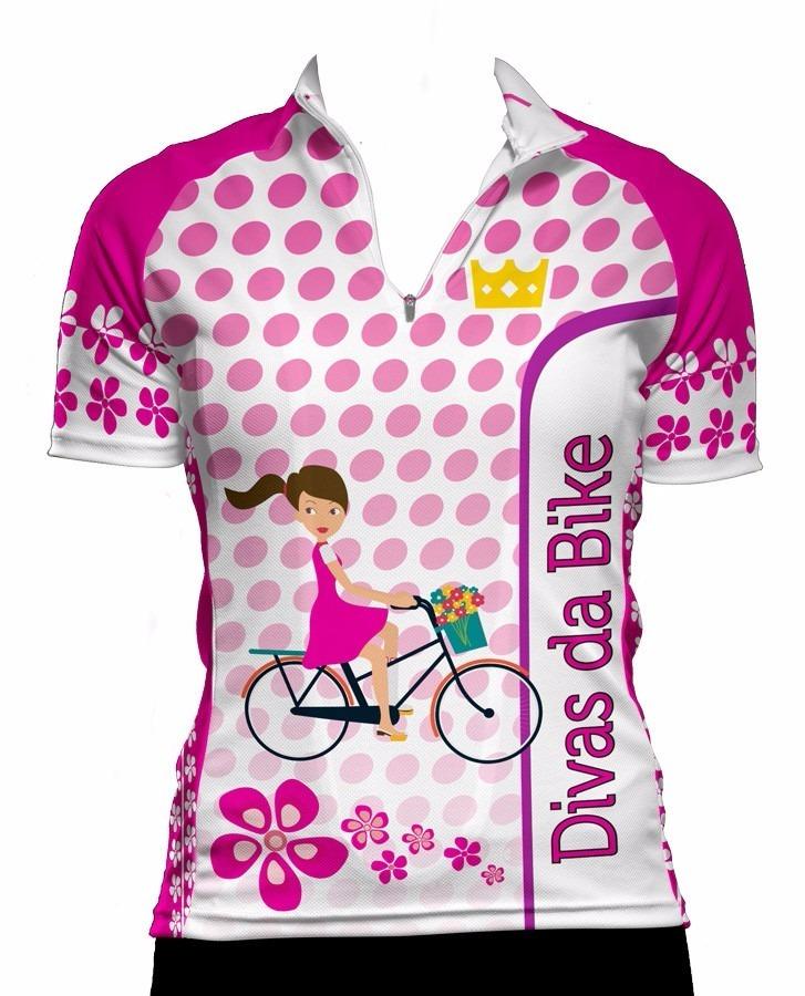 74e1fdb251985 Camisa de ciclismo feminina divas da bike branca jpg 727x900 Preto rosa spenassatto  uniformes esportivos feminino