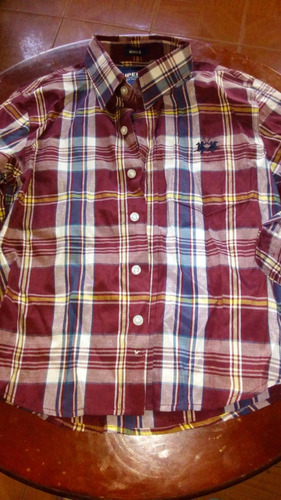 camisa de cuadros vinotinto de niño