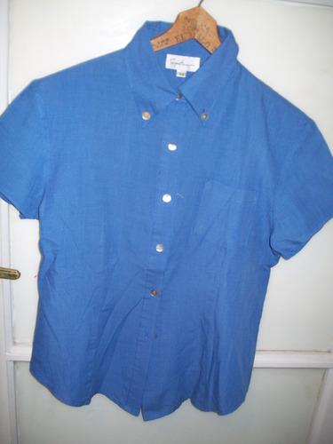 camisa de dama color azul claro manga corta talle m