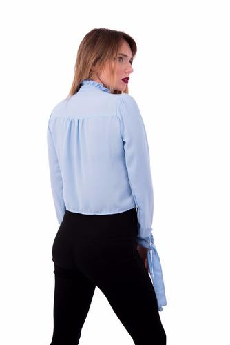 camisa de gasa con volado y lazo mujer kandil
